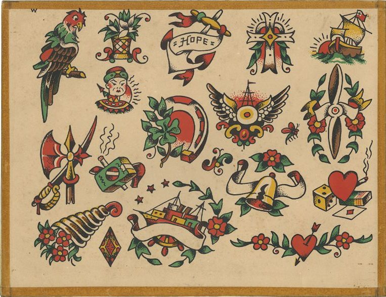 "Vintage Tattoo Flash ""w""- hearts, ships, and more"