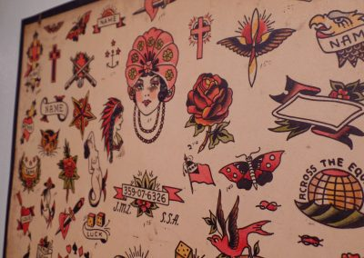 Close-up of the tattoo designs on the 1941 tattoo flash.