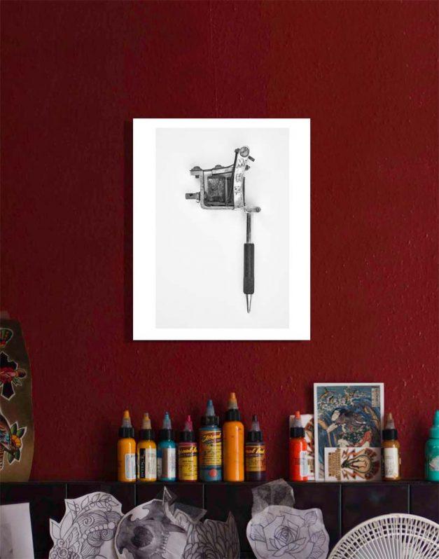 Spaulding and Rogers tattoo machine print on wall